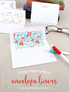 Send your mail in style! Download these free printable envelope liners in four pretty floral designs. Easy to print, trim out attach to the inside of your envelopes. Keep them for yourself, or create a set to gift to a friend! // Design from Elegance & En