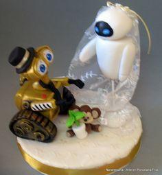 Adornos y souvenirs de casamiento realizados en Porcelana Fría / Wedding cake toppers and souvenirs made of Cold Porcelain - Wall-e y EVA