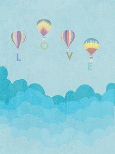 LOVE  hot air balloon nursery clouds digital by studiomarshallarts, $5.00