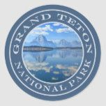 Grand Teton National Park Mountain Reflections Classic Round Sticker   hiking tip, hiking games, hiking beginner #hikingrocks #hikingireland #hikingdogofinstagram Grand Teton National Park, National Parks, Hiking Quotes, Hiking Gifts, Rottweiler Puppies, Camping Ideas, Round Stickers, Funny, Reflection