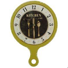 Ceas Kitchen din lemn galben 29x41 cm