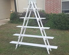 For your MCM ceramic tree display! 6 ft Wooden Ladder - Christmas Village Display - Craft Show Display - Portable Display - Display Stand - Trade Show Display - Wooden Shelves Noel Christmas, Christmas Crafts, Christmas Decorations, Ladder Christmas Tree, Xmas, Outdoor Christmas, Christmas Village Display, Christmas Villages, Rustic Ladder