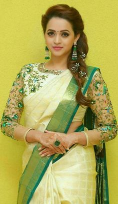 Trendy and Stylish Blouse Designs For this wedding season Kerala Saree Blouse Designs, Netted Blouse Designs, Set Saree, Saree Dress, Lehanga Saree, Lahenga, Anarkali, Saree With Belt, Saree Hairstyles