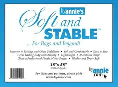 By Annie's Soft and Stable, Soft and Stable, Foam interfacing, foam interlining, interfacing for bag #BuyFabric