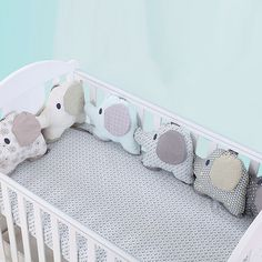 Baby Bed Bumper Ins Cot Bumper Baby Crib Protector Infant Cushion Pillow Rabbit Ear Shaped Print Crib Bumper For Baby Newborn Bumpers