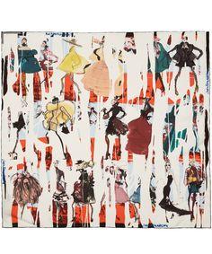 Christian Lacroix White Stripe Fashion Sketch Print Silk Scarf | Scarves by Christian Lacroix | Liberty.co.uk