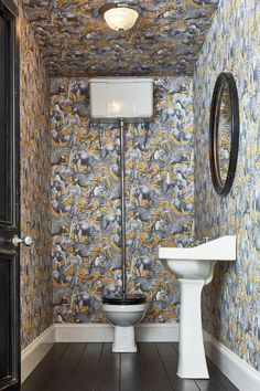 Featuring all the best loved safari animals, Kingdom Lion is a illustrative design enhanced in an on trend mustard and grey palette. Shop Now Graham & Brown Wallpaper Crafts, Bathroom Wallpaper, Small Toilet Room, Small Bathroom, Bathroom Stand, Mirror Bathroom, Funky Bathroom, Guest Toilet, Bathroom Grey