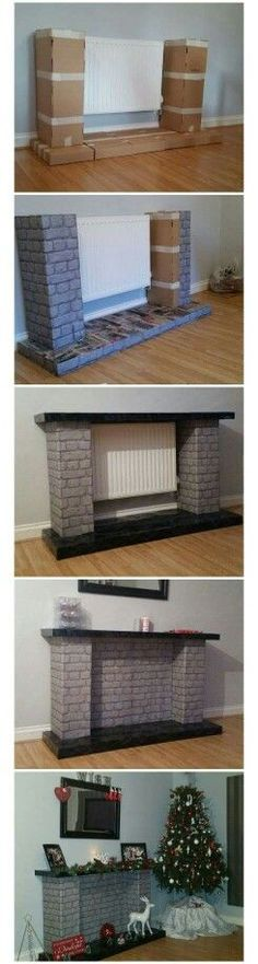 DIY christmas fireplace Fireplace made from cardboard boxes. More