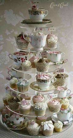 Cute cupcake set-up for weddings/parties. Use vintage tea-cups mixed in with the cupcakes. Cotton And Crumbs, Tea Party Bridal Shower, Cupcakes For Bridal Shower, Bridal Showers, My Tea, Cupcake Cakes, Teacup Cupcakes, Tea Party Cupcakes, Party Sweets