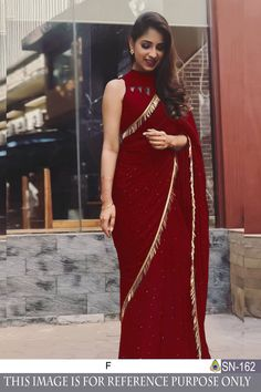 Style Array Present Bollywood Marron Color Geroget Silk with Banglory Blose Branded saree .Buy This Attractive Look Bollywood Marron Color Geroget Silk with Banglory Blose Branded sareeSaree Maroon Saree, Red Saree, Saree Dress, Silk Lehenga, Banarasi Sarees, Saree Blouse Patterns, Saree Blouse Designs, Stylish Sarees, Stylish Dresses