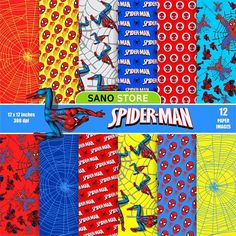 Spiderman Marvel Scrapbook Digital paper pack Craft Printable Cartoon Backgrounds printable papers- Instant download - 12x12 inches. 300 dpi