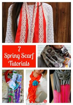 7 Spring Scarf Tutorials...just beautiful!  - EverythingEtsy.com #diy #sewing #pattern