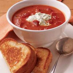 Tomato soup gets a lift from basil in this easy recipe. Use convenient ingredients for a crowd-pleasing, quick tomato basil soup. Chili Recipes, New Recipes, Soup Recipes, Cooking Recipes, Favorite Recipes, Steak Recipes, Easy Recipes, Healthy Recipes, Recipe Land