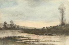 Charles-François Daubigny (1817-1878) - Les oies près de l'étang - Crayon