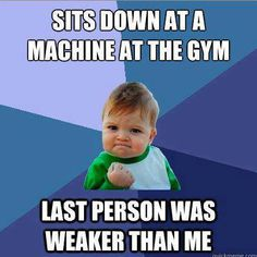 Haha we all do it. Hate when someone does more than me though... Just gotta remind myself that maybe they're doing less reps/sets :)