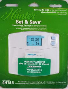 Hunter Programmable Thermostat Heating Cooling Systems Indiglo 44155C New Last 1 #Hunter