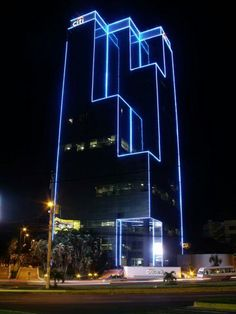 Citi Tower (San Salvador, El Salvador) By Grupo Bolívar Building Elevation, Building Exterior, Building Facade, Facade Lighting, Linear Lighting, Exterior Lighting, Glass Building, Light Building, San Salvador
