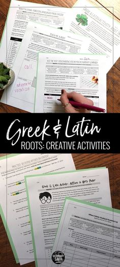 Activities to APPLY the Greek & Latin roots taught in a middle or high school English class! These range in difficulty and task to help USE affixes and not just memorize them. Teaching Latin, Teaching Vocabulary, Vocabulary Activities, Teaching Reading, Teaching English, English Teachers, English Classroom, Reading Skills, Learning