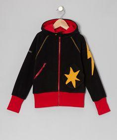 Black Star Fleece Zip-Up Hoodie - Toddler & Boys by Moonkids £16.99