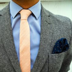 Skinny tie and pocket square.
