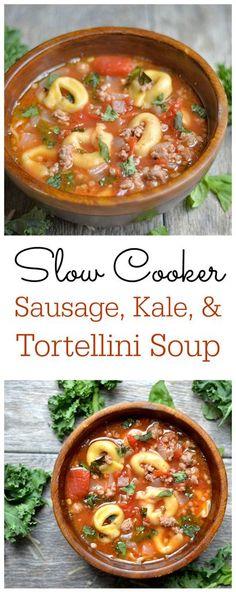 Sausage, Kale, and Tortellini Soup Ingredients: 1 lb turkey sausage ...