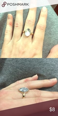Gold Ring with Crystal Size 8 gold ring with crystal Charming Charlie Jewelry Rings