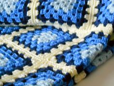 Blue Baby Blanket  Crocheted Afghan  Toddler by ThePineappleCatz