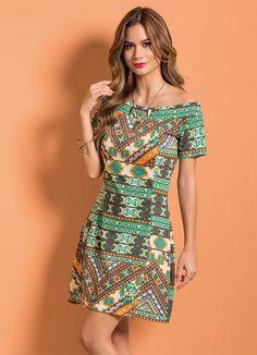 Vestido Étnico com Decote Ombro a Ombro - Posthaus