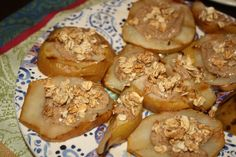 pear recipes, almonds, free snack, food, grill pear, almond butter, pears, granola, dessert