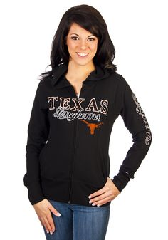 Texas Longhorns Womens Black Campus Hooded Sweatshirt