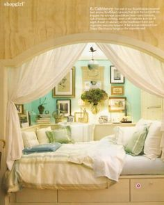 A few bigger pillows and different colors and this would be the perfect alcove bed for my new room! Alcove Bed, Bed Nook, Bedroom Nook, Cozy Nook, Dream Bedroom, Design Bedroom, Bedroom Decor, Pretty Bedroom, Girls Bedroom