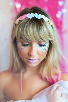 Pastel Love Hearts Glitter Heart  Hair Band, Love Hearts Hair Band, Sweethearts Headband, Cute, Kawaii, Glitter Headband on Etsy, £10.00