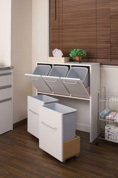 Kitchen Organisation, Diy Kitchen Storage, Small Bathroom Storage, Laundry Room Storage, Home Organization, Kitchen Decor, Kitchen Design, Trash Can Cabinet, Recycling Storage