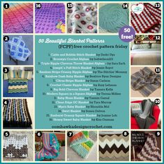 "Welcome to Free Crochet Pattern Friday! I hope you enjoy the links! This week's FCPF (Free Crochet Pattern Friday) Category is: Beautiful Blankets Share this post with your friends: [Tweet ""Get 50 ..."