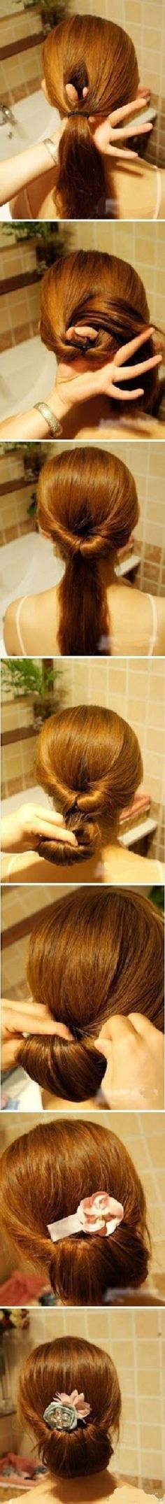 An Updated Chignon - Lazy Hair Day Summer Hairstyles, Up Hairstyles, Pretty Hairstyles, Wedding Hairstyles, Creative Hairstyles, Wedding Updo, Running Late Hairstyles, Interview Hairstyles, Easy Formal Hairstyles