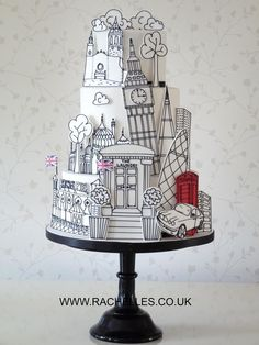 London themed cake London themed monochrome cake / black and white cake Gorgeous Cakes, Pretty Cakes, Cute Cakes, Amazing Cakes, Unique Cakes, Creative Cakes, Fondant Cakes, Cupcake Cakes, Bolo Tumblr