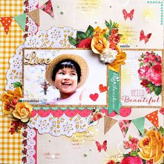 To be honored , I was chosen as a Kaisercraft DT finalist . Last year , fortunately I was able to make A LOT of work as a De. Scrapbook Blog, Scrapbooking Layouts, Scrapbook Pages, Kids Pages, Spring Is Here, Hello Beautiful, Happy Day, Punch, Card Making