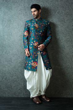 peacock kurta, printed kurta, silk kurta, white cowl pants, white dhoti