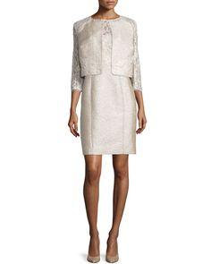 469edae80c6 Lace Tweed Cropped Jacket   Sleeveless Lace-Bodice Tweed Sheath Dress by Kay  Unger New York at Neiman Marcus.