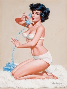 1940s Pin-Up Girl On the Telephone Picture Poster Print Art Pin Up