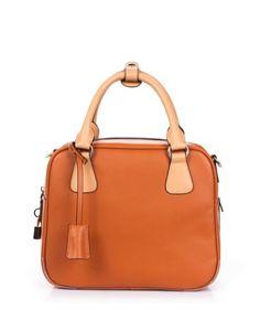 VIVILLI Leather Blocked Tote Satchel Handbag-Brown