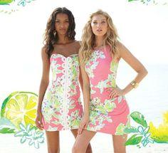 Lilly Pulitzer Angela Strapless Sweetheart Dress & Delia Shift in Pink Lemonade