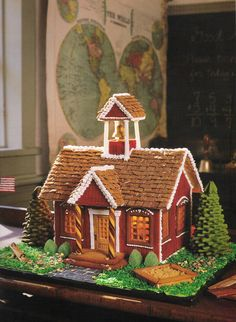 From the book, Gingerbread for All Seasons, by Teresa Layman, (C) 1997 Harry N Abrams Gingerbread House Template, Gingerbread House Designs, Gingerbread Village, Gingerbread Decorations, Christmas Gingerbread House, Christmas Decorations, Christmas Baking, Christmas Crafts, Christmas Sweets