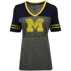 Colosseum Women's Michigan Wolverines McTwist T-Shirt ($32) ❤ liked on Polyvore featuring tops, t-shirts, charcoal, long t shirt, long tee, long length t shirts, charcoal gray t shirt and low v neck t shirt