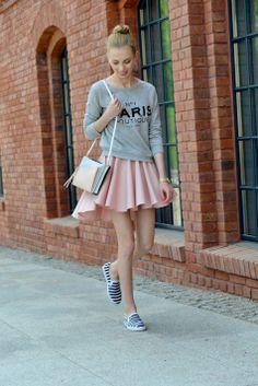 Powder Pink Skirt+ Striped Slip-On Shoes