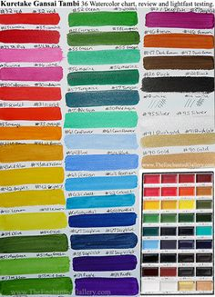 COLOR CHART Kuretake Gansai Tambi set 36 colors watercolor paint by ZIG. Traditional Japanese pan sumi style cake paints have really good lightfast qualities. All but 3 of the 36 colors proved to do well exposed to sunlight without fading. Beautiful set of paints makes a great gift for any artist. I found mine on amazon.com and the color chart and lightfast testing was done by Kimberly Crick at www.TheEnchantedGallery.com