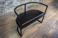 Kingston Chair, Black Lacquered Steel with Black Leather Seat 3