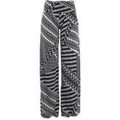 Black & White Geo Chevron Print Wide Palazzo Pants ($25) ❤ liked on Polyvore featuring pants, wide-leg pants, stretch pants, lightweight pants, relaxed fit pants and boho palazzo pants