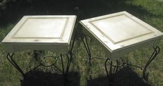 Annie Sloan Cream end tables, clear and dark wax finished, distressed, wrought iron legs