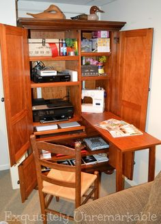 I don't have much excess room in my tiny cottage, but I found the perfect way to carve out my dream craft space.and I found it at the thrift store! Diy Cabinets, Office Armoire, Space Crafts, Craft Storage Cabinets, Sewing Room Organization, Sewing Cabinet, Craft Storage, Armoire Diy, Room